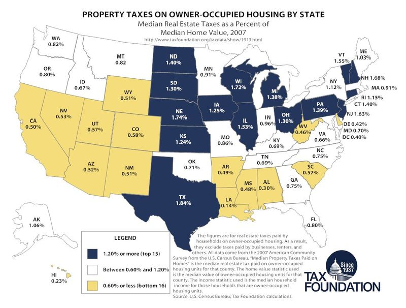 State by State Property Tax map