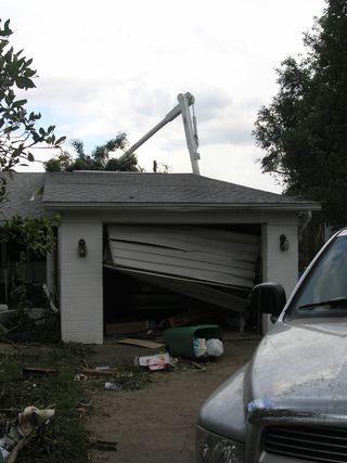 A Tornado blown garage door