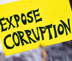 Expose corruption sign